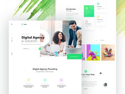 Digital Agency Landing web design web template portfolio ui green startup creative marketing corporate agency minimal business