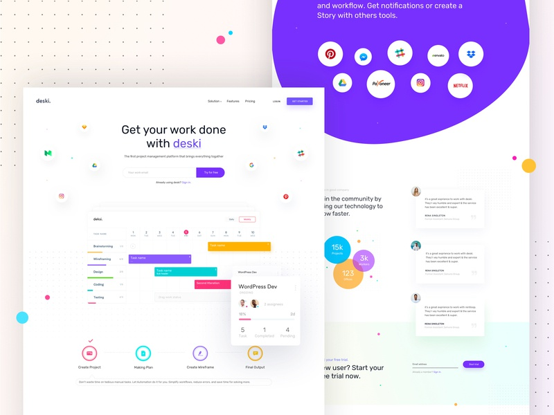 Project Management web app project management saas landing page portfolio agency marketing creative startup minimal corporate business
