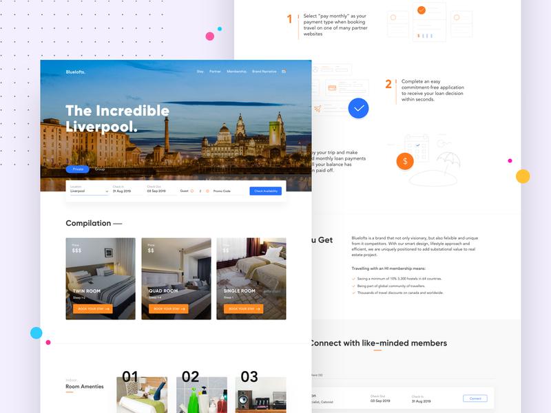 Booking & Membership corporate marketing hostel cowwork broker clean minimal rent brooker landing page branding real estate startup agency business trend bold booking