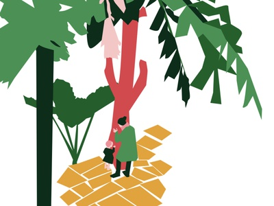 A woman and a child listening to the vibes of a tropical tree child woman tree inkscape illustration