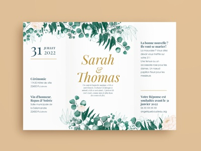 Wedding invitation-envelop scribus gimp inkscape foliage flower peonies eucalyptus envelop card illustration