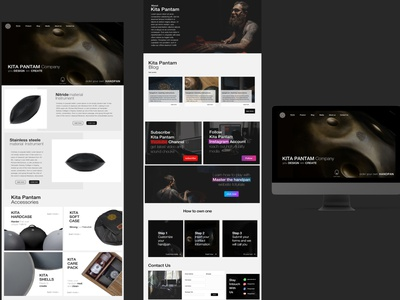 kita pantam company mockup hangdrum instruments black white minimal webdesign website typography web ui ux web design landing page ui ux design