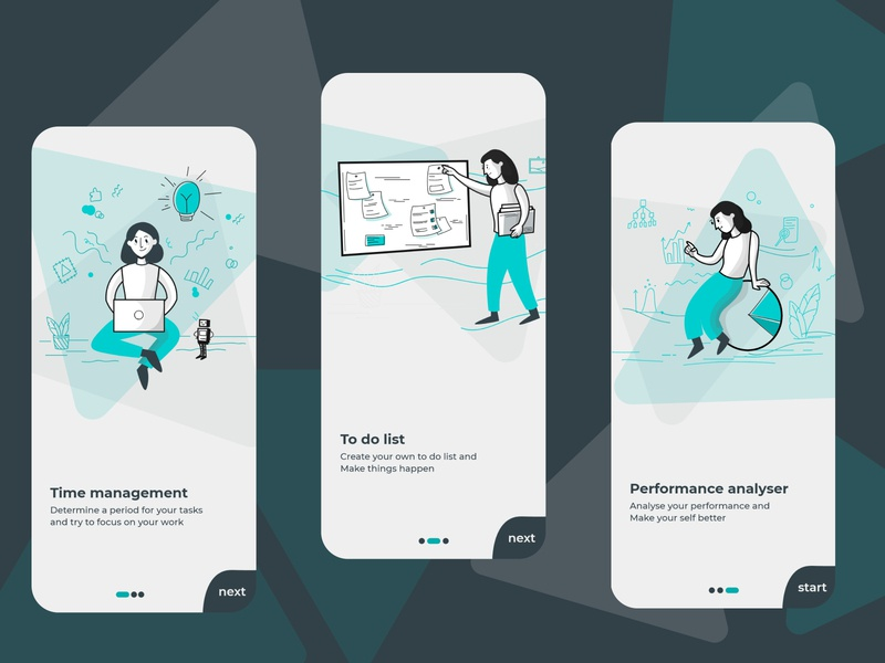 boarding of to do list application lightblue blue app design boarding illustration app application ux ui design