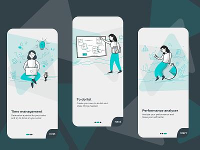 to do list application lightblue blue app design boarding illustration app application ux ui design
