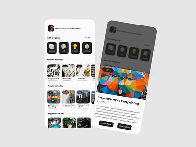 Podcast Application concept bw application design ui design 3d icon 3d podcasting pod podcast app design black white minimal app application ui ux design
