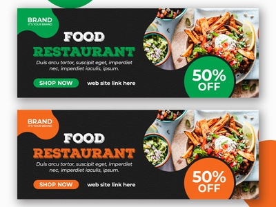 food restaurant facebook cover template social media post