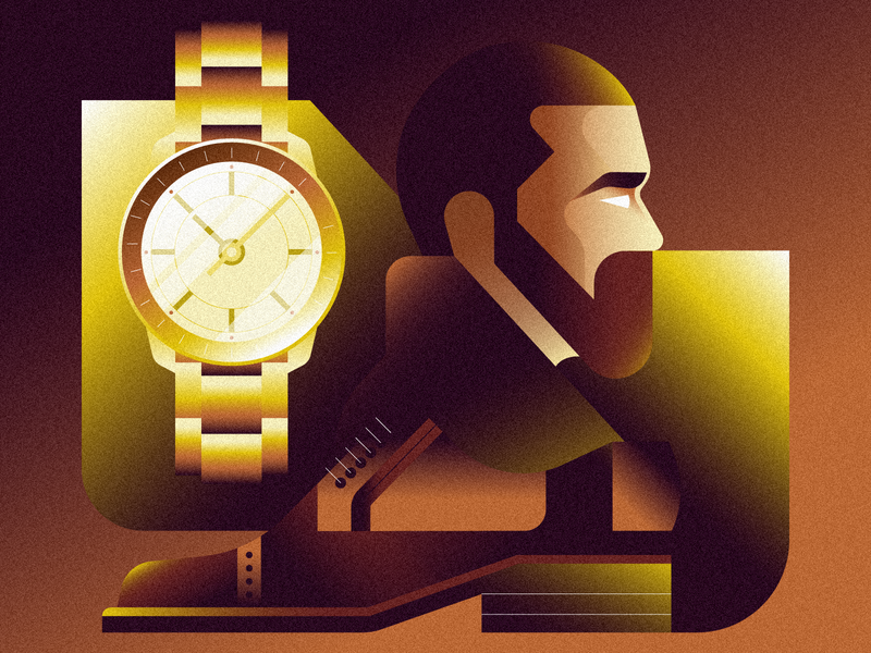 menswear simple minimal character watch clothes person gradient geometric vector icons icon illustration