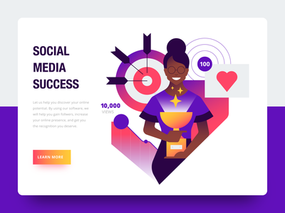 social media success vector social media web design website ux ui iconography geometric icon icons character illustration