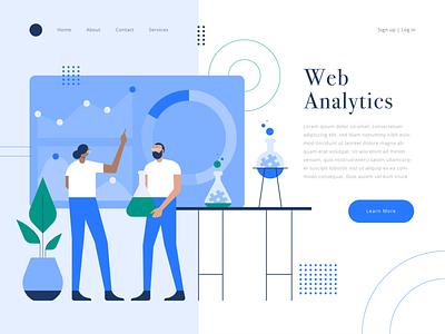 Analytics character ux iconography landingpage website homepage ui simple vector icons icon illustration