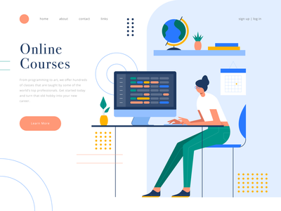 online courses e learning home office coder simple landing page shape online course character illustration geometric website icons icon illustration