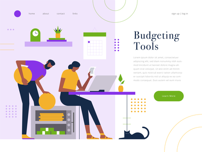 budgeting tools budgeting budget ux cat web vector ui  ux website landing page character geometric ui icons icon illustration