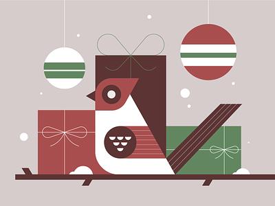 Happy Holidays holidays christmas flat minimal bird illustration nature bird geometric simple vector icon illustration
