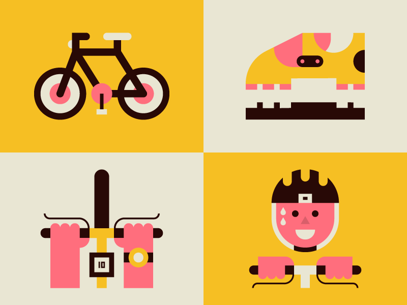 Bike vector person bike pink yellow character icon illustration