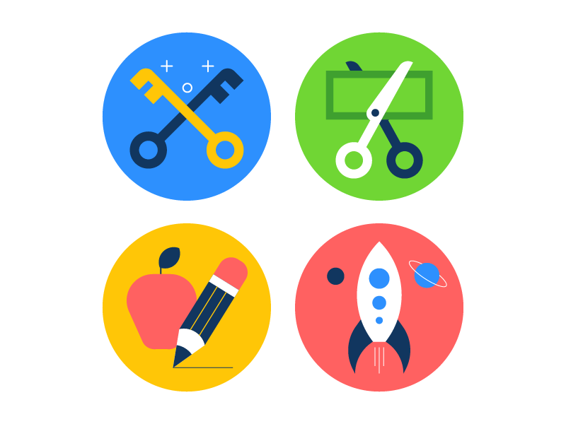 Icons iconset rocket ship key learning school illustration icons