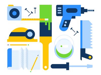 Tools Illustration drill infographic iconography icon paint saw tools icons illustration