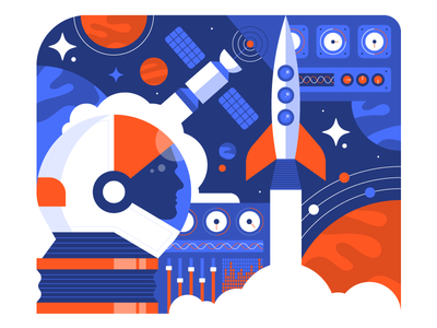 Space Illustration geometric art space helmet rocket spaceship ship blue space character vector icon icons illustration