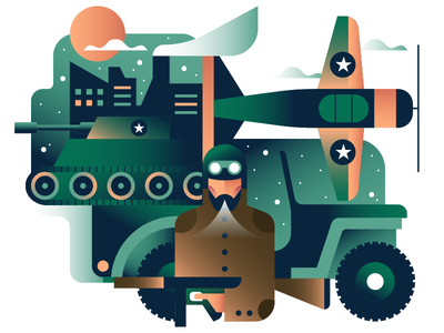 Soldier illustration soldier green winter tank jeep geometric character vector icon icons illustration