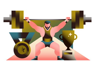 Weightlifter weightlifting exercise character design gradient minimal graphic design character vector icons icon illustration
