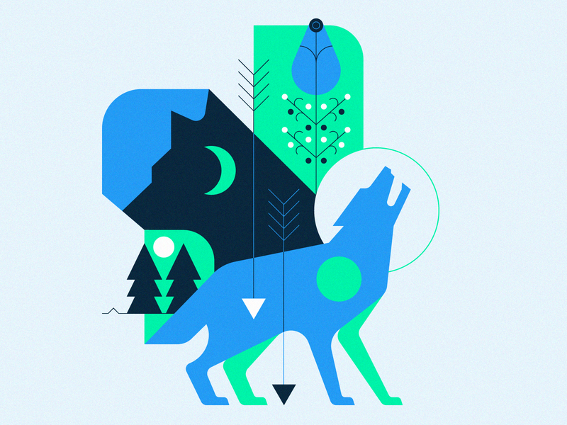 Wolves nature flower wolves wolf animals geometric illustration shape graphic design vector icon icons illustration