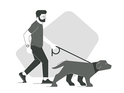 Dog walk geometric line simple minimal flat graphic design character vector icons icon illustration