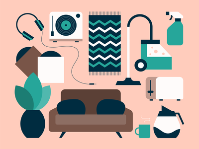 household items design line furniture pink flat geometric simple vector icons icon illustration