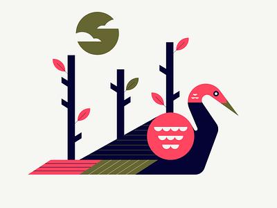 crane design bird illustration nature bird geometric simple minimal flat vector icons icon illustration
