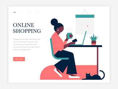 online shopping graphic design iconography character illustration cat landing page online shopping geometric character vector icons icon illustration
