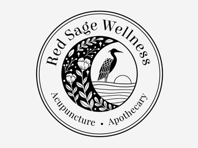 Red Sage Wellness branding illustration design logo