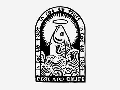 In Cod We Trust illustration typography branding design logo