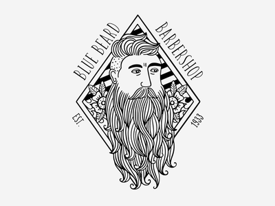 Blue Beard Barbershop vector illustrator graphic design typography illustration logo design branding