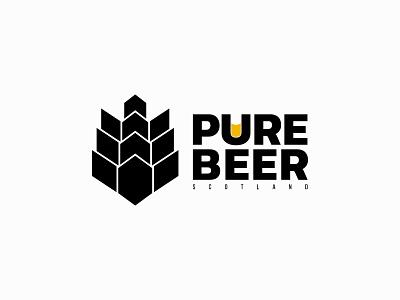 Pure Beer cool clean beer logo logo design minimalist unique logo vector beer flat branding logo design
