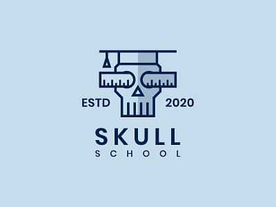 Skull School fear scared horor simple logo university school skull mascot logo character flat branding unique logo logo design logo