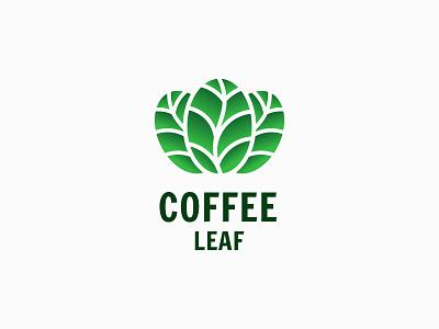 Coffee Leaf coffee shop herbal leaf coffee logo design flat brand identity branding unique logo