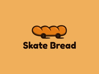 Skate Bread baguette skateboard bread logo vector brand identity illustration branding unique logo logo design