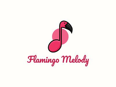 Flamingo Melody illustration vector flamingos bird flamingo melody music character mascot logo logo design unique logo