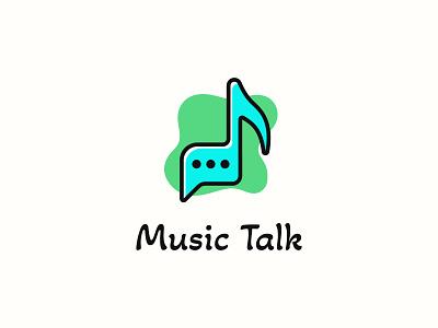 Music Talk minimalist modern blue green talk chat melody flat vector logo design unique logo music