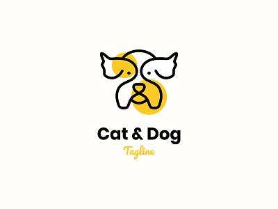 Cat & Dog Logo clean cool brand identity vector mascot logo modern logo branding unique logo line dog cat logo design