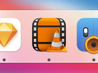 VLC icon macOS 11 Big Sur big sur film cone video icon apple mac