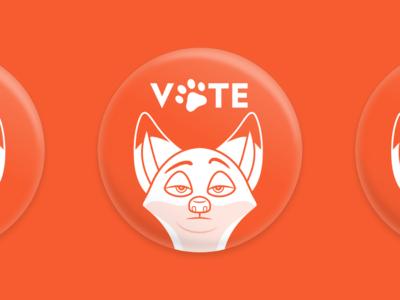 VOTE! button fox wilde nick zootropolis zootopia