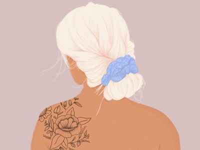 Tattooed Woman pink hair white hair drawing plant illustration body womenwhodraw woman illustration character tattoos women woman portrait woman tattoo flat illustration illustration design