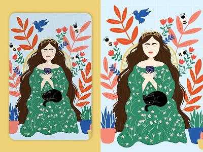 The Empress cards flower tarot deck empress woman illustration woman black cat floral card deck tarot card tarot plant illustration plants flowers texture flat illustration drawing illustration design