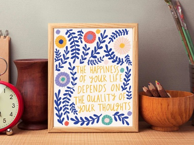 Happiness quote hand made font quote design positivity bright colors type lettering hand drawn flowers typography hand lettering flat illustration drawing illustration design