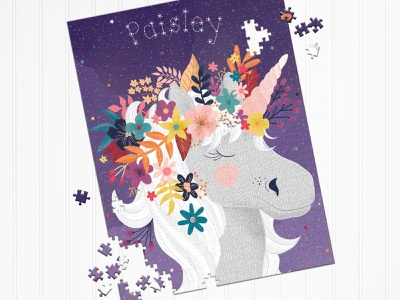 Unicron Puzzle stars magical purple texture childrens illustration puzzle illustration puzzle flower illustration flower crown unicorns unicorn bright colors flowers flat illustration drawing illustration design