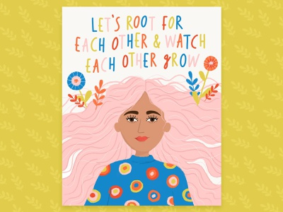 Grow quote positive quote girl pink hair portrait woman illustration grow woman lettering hand drawn flowers typography hand lettering drawing flat illustration illustration design