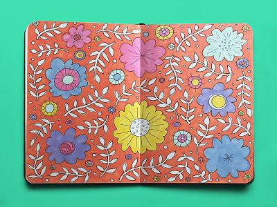 Sketchbook Floral Design pattern design floral pattern pattern sketches orange drawing flat illustration marker sketch marker flower illustration flowers illustration doodle floral design sketchbook bright colors design