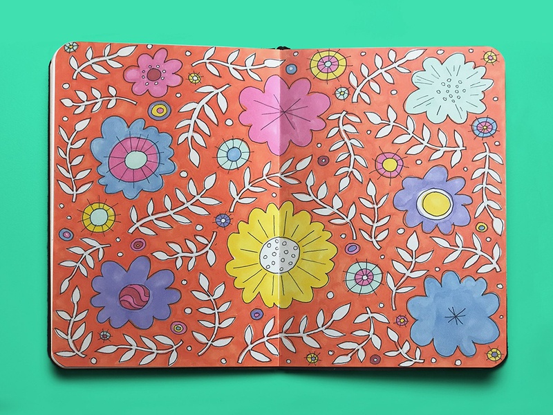 Sketchbook Floral Design pattern design floral pattern pattern sketches orange drawing flat illustration marker sketch marker flower illustration flowers illustration doodle floral design sketchbook bright colors design