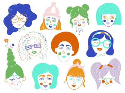 Funky Faces line art women doodle colorful portrait faces characters women illustration woman bright colors flowers drawing flat illustration illustration design