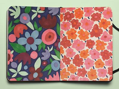 Flower Pattern Sketch marker sketch marker doodle flower illustration sketch sketchbook flowers hand drawn bright colors flat illustration drawing illustration design pattern florals floral pattern pattern design