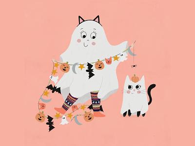 Boo! haunted cute kids illustration flat illustration drawing illustration design friends black cat halloween costume halloween childrens illustration childrens book boo ghost