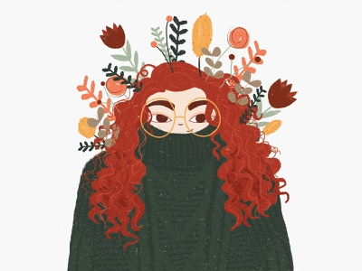 Sweater Weather hand drawn drawing portrait character texture wacom tablet flat illustration floral flowers leaves autumn sweater design illustration